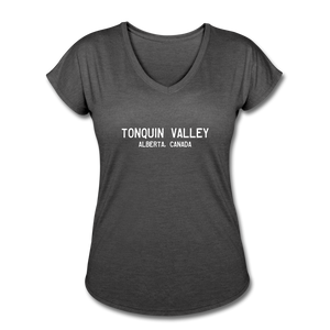 Great Trails - Tonquin Valley - Women's Tri-Blend V-Neck T-Shirt - deep heather