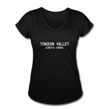 Load image into Gallery viewer, Great Trails - Tonquin Valley - Women's Tri-Blend V-Neck T-Shirt - black