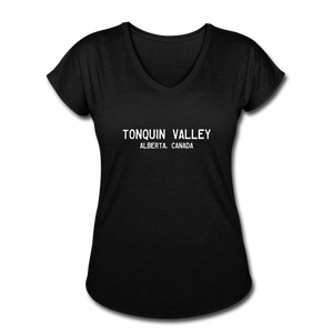 Great Trails - Tonquin Valley - Women's Tri-Blend V-Neck T-Shirt - black