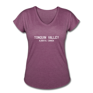 Great Trails - Tonquin Valley - Women's Tri-Blend V-Neck T-Shirt - heather plum