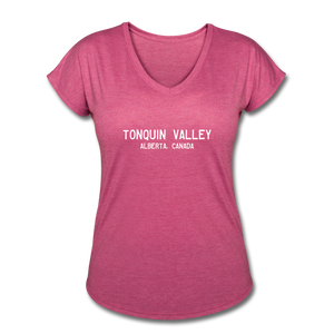 Great Trails - Tonquin Valley - Women's Tri-Blend V-Neck T-Shirt - heather raspberry