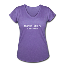 Load image into Gallery viewer, Great Trails - Tonquin Valley - Women's Tri-Blend V-Neck T-Shirt - purple heather