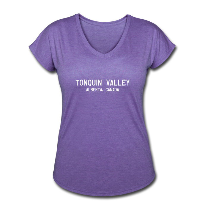 Great Trails - Tonquin Valley - Women's Tri-Blend V-Neck T-Shirt - purple heather