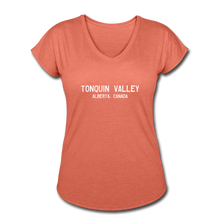 Load image into Gallery viewer, Great Trails - Tonquin Valley - Women's Tri-Blend V-Neck T-Shirt - heather bronze