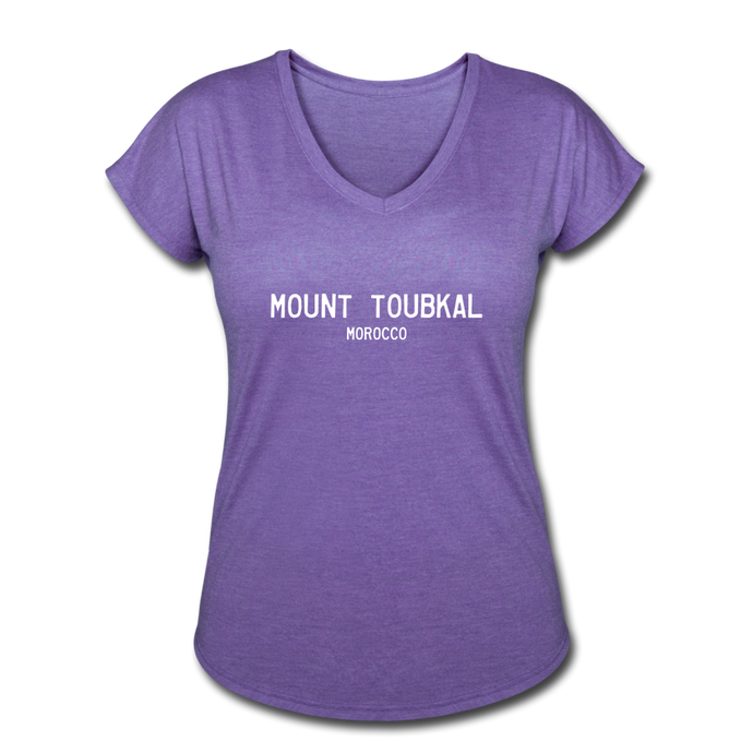 Great Trails - Mount Toubkal - Women's Tri-Blend V-Neck T-Shirt - purple heather