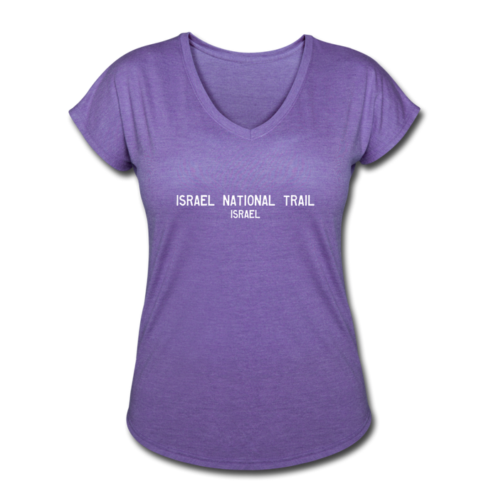 Great Trails - Israel National Trail - Women's Tri-Blend V-Neck T-Shirt - purple heather