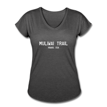 Load image into Gallery viewer, Great Trails - MUliwai Trail - Women's Tri-Blend V-Neck T-Shirt - deep heather