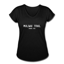 Load image into Gallery viewer, Great Trails - MUliwai Trail - Women's Tri-Blend V-Neck T-Shirt - black