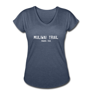 Great Trails - MUliwai Trail - Women's Tri-Blend V-Neck T-Shirt - navy heather