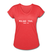 Load image into Gallery viewer, Great Trails - MUliwai Trail - Women's Tri-Blend V-Neck T-Shirt - heather red