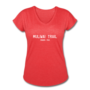 Great Trails - MUliwai Trail - Women's Tri-Blend V-Neck T-Shirt - heather red