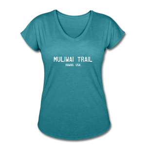 Great Trails - MUliwai Trail - Women's Tri-Blend V-Neck T-Shirt - heather turquoise