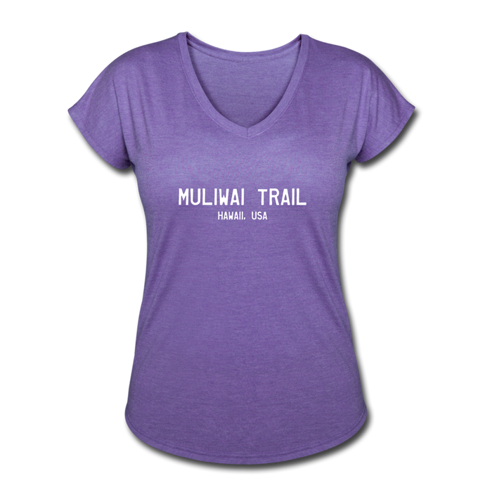 Great Trails - MUliwai Trail - Women's Tri-Blend V-Neck T-Shirt - purple heather