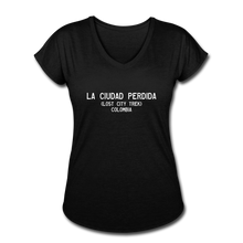Load image into Gallery viewer, Great Trails - La Ciudad Perdida - Women's Tri-Blend V-Neck T-Shirt - black
