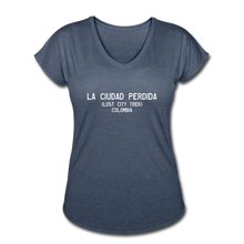 Load image into Gallery viewer, Great Trails - La Ciudad Perdida - Women's Tri-Blend V-Neck T-Shirt - navy heather