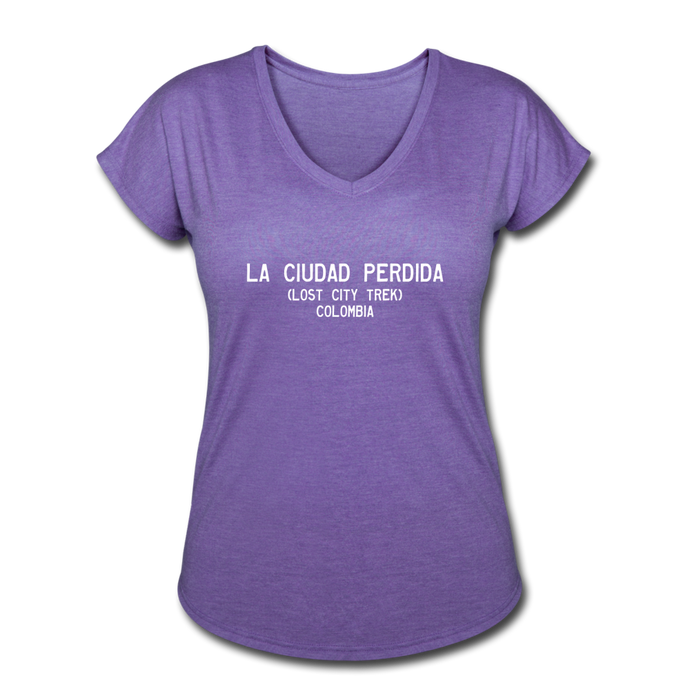 Great Trails - La Ciudad Perdida - Women's Tri-Blend V-Neck T-Shirt - purple heather