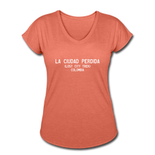 Load image into Gallery viewer, Great Trails - La Ciudad Perdida - Women's Tri-Blend V-Neck T-Shirt - heather bronze