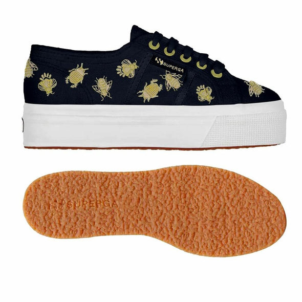 Superga Perú 2790 INSECTEMBROIDERYCOTW Navy Gold Insects