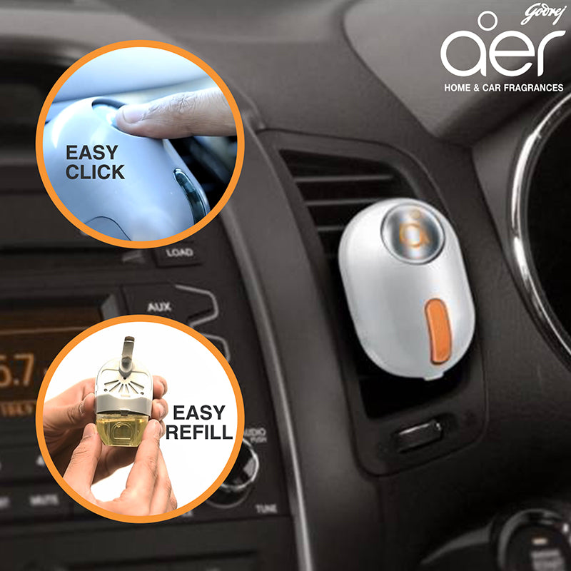 Godrej aer click, car vent air freshener kit <span class='bright-tangy'>bright tangy delight 10g</span>