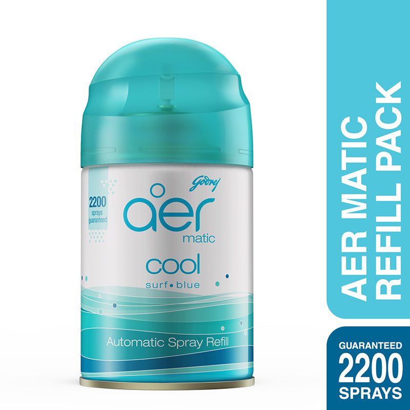 Godrej aer matic, automatic air freshener refill pack <span class='cool-blue'>cool surf blue 225ml</span>