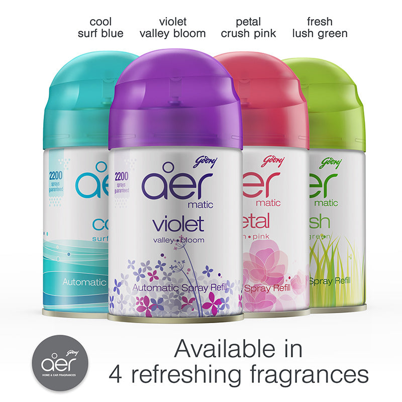 Godrej aer matic, automatic air freshener refill pack <span class='lush-green'>fresh lush green 225ml</span>
