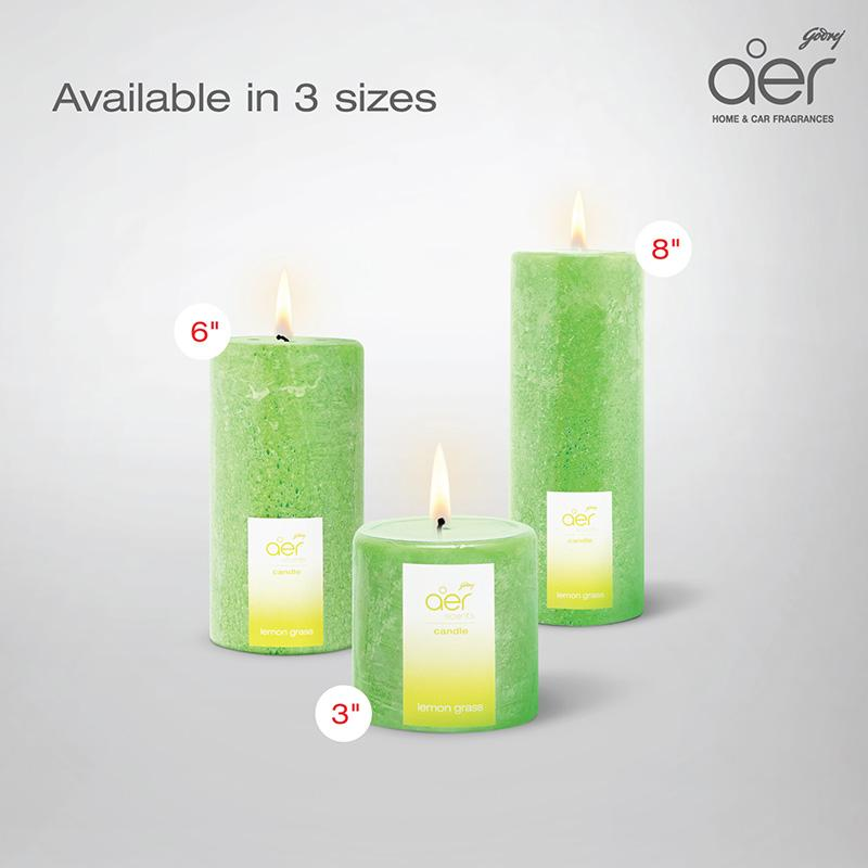 "Godrej aer scents candles <span class='lemongrass'>lemongrass 3""</span>"