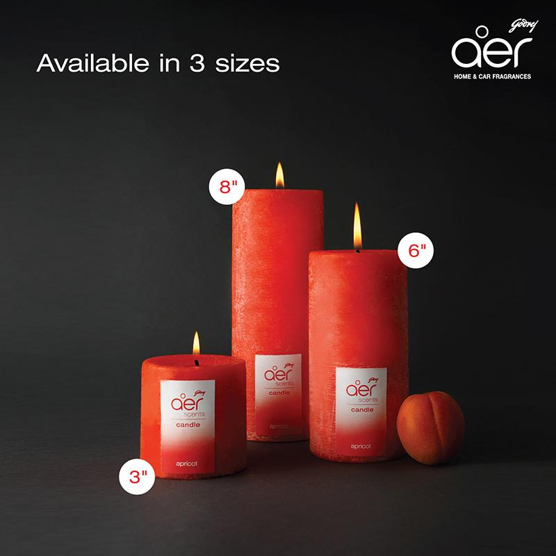 "Godrej aer scents candles <span class='apricot'>apricot 8""</span>"