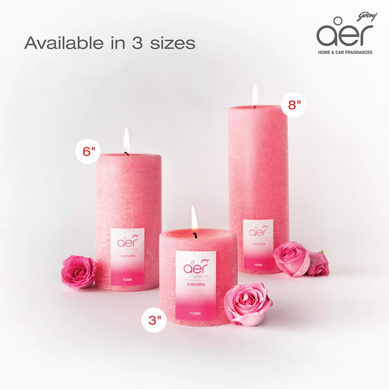 "Godrej aer scents candles <span class='rose'>rose 6""</span>"