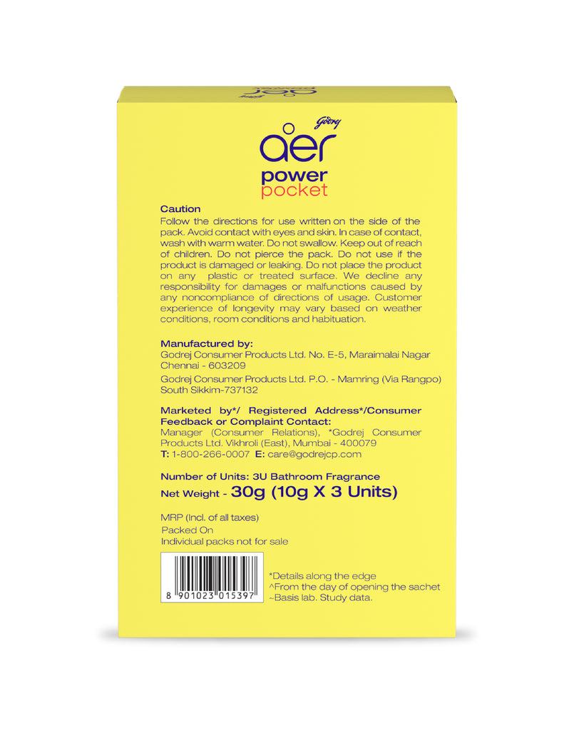 Godrej aer power pocket. Pack of 3 fragrances.