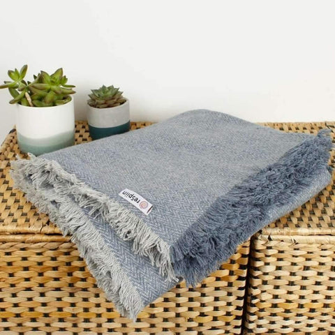 Wool Throw with Fringe