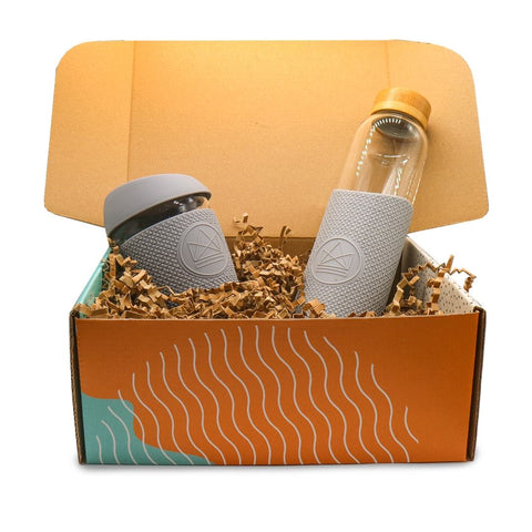 Glass Water Bottle & Coffee Cup Gift Set
