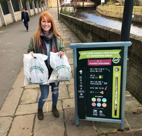 EcoVibe team member litter picking on Leeds Liverpool canal