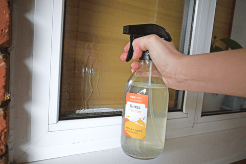 EcoVibe glass cleaner cleaning windows