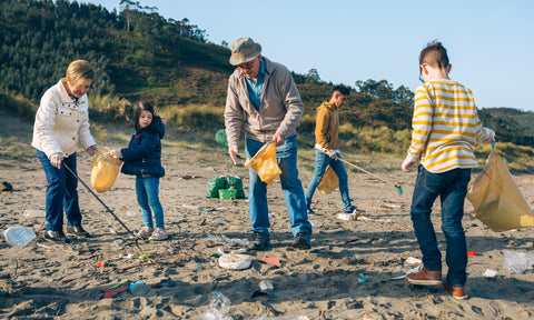 A family doing a beach clean together