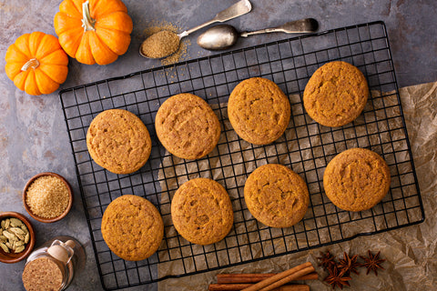 Pumpkin cookies on a cooling tray