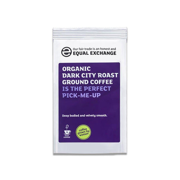 organic dark roast ground coffee, grown by women at equal exchange, fair trade.