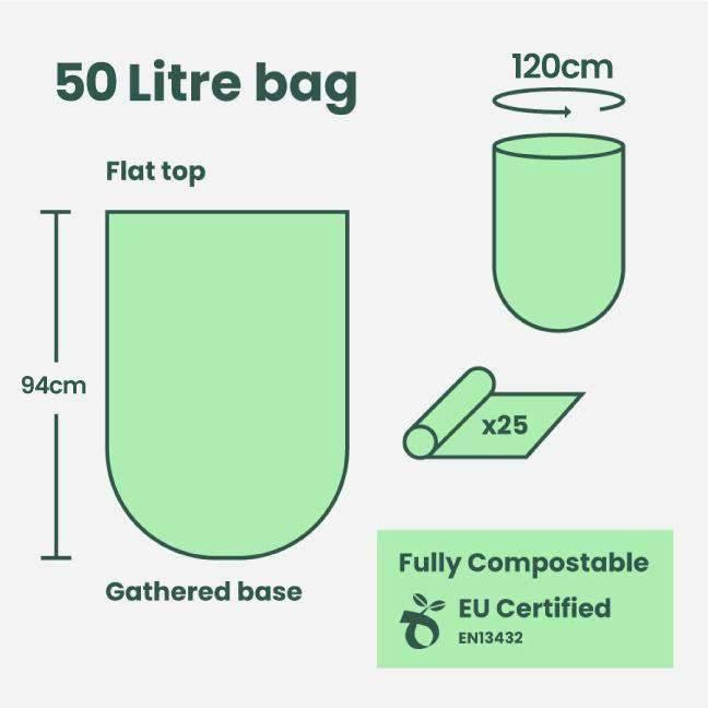 Biodegradable Bin Liners - 50 Litre (25 Bags)