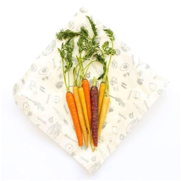 Abeego beeswax wrap open with carrots on top