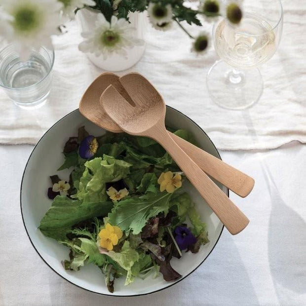 Bamboo Salad Servers with bowl of salad
