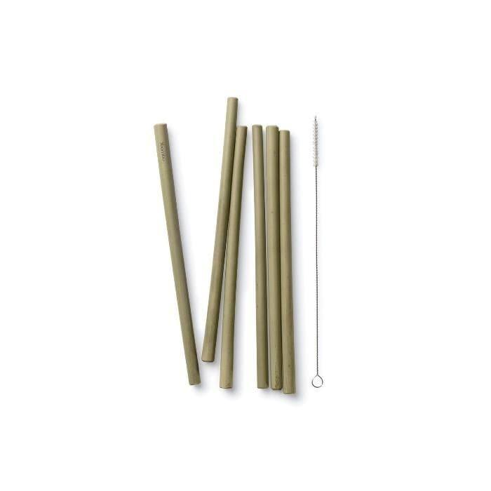 Reusable Bamboo Drinking Straws - Set of 6 with Brush