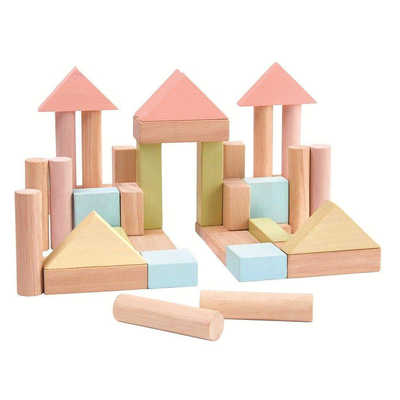 Colourful Pastel Building Block Set - 40 Blocks - EcoVibe