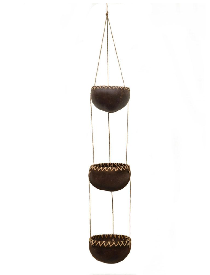 hand made coconut hanging planter or tea-light holder for indoors or outdoors as a gardening decoration