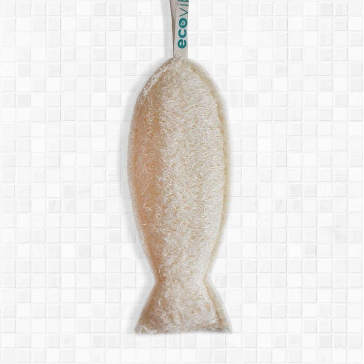 Ecovibe fish shaped bath and body loofah.