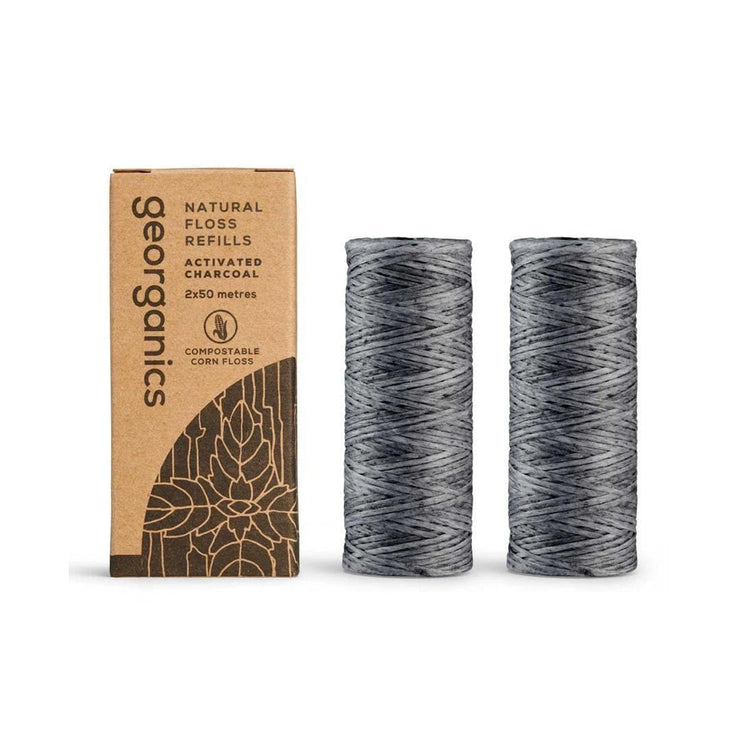 NEW Natural Floss Refill - Charcoal 50 metre (2 Pack)