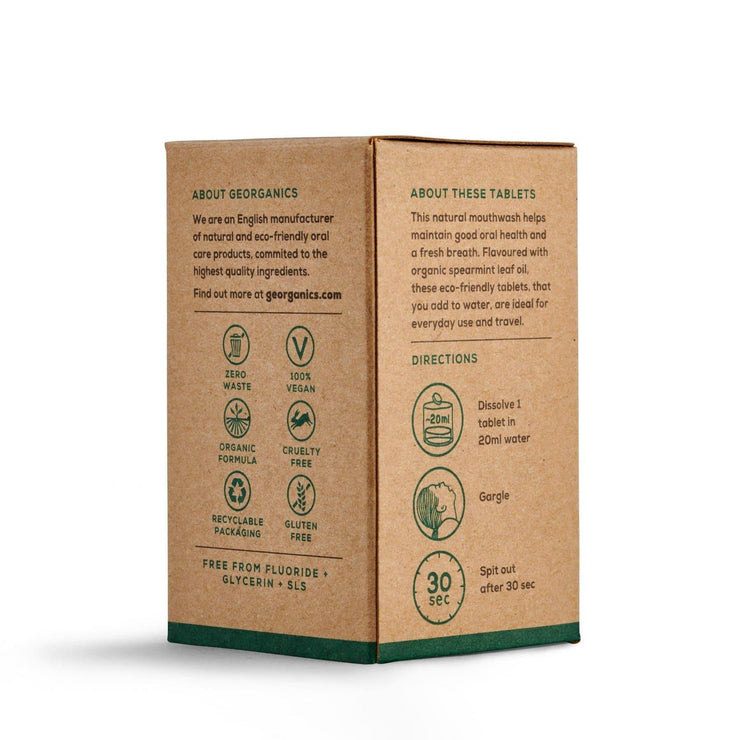 Georganics Mouthwash Tablets - Spearmint packaging