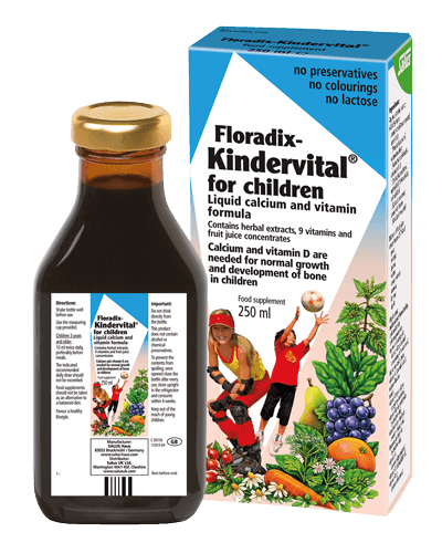 Floradix- Kindervital for children, liquid calcium and vitamin formula, contains herbal extracts.