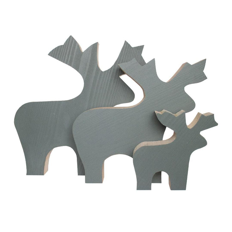 Wooden Reindeer Decoration Set