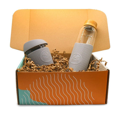 Glass Water Bottle & Coffee Cup Gift Set - EcoVibe