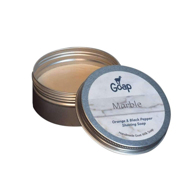 Goap Shaving Soap in a Tin - Orange and Black Pepper (75g)