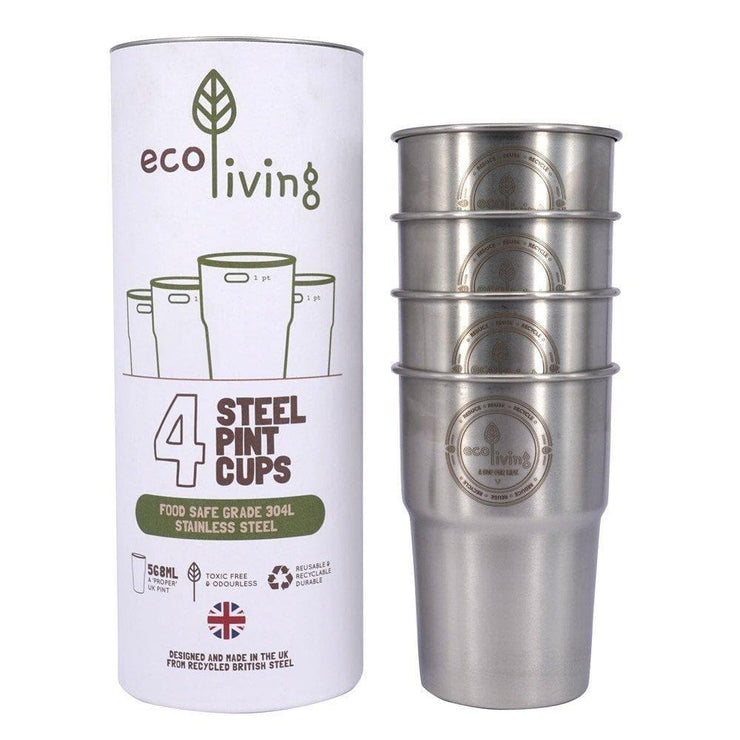 Stainless Steel Pint Cups - set of 4